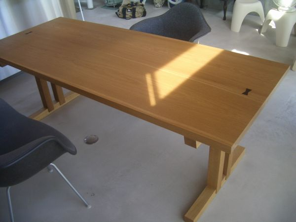 楢二枚矧ぎテーブル