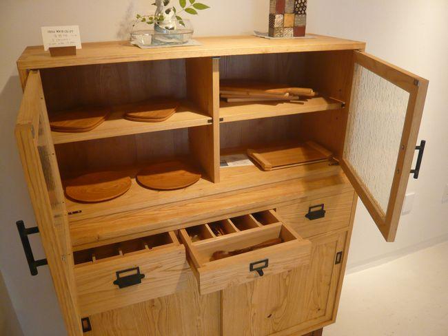 栗材 食器棚